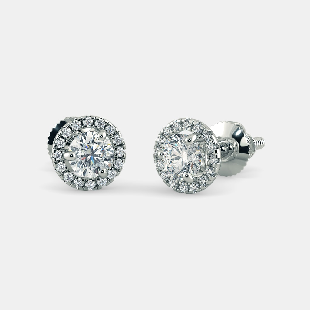 round white diamond gold in view jewellery stud top studs prong platinum earrings four