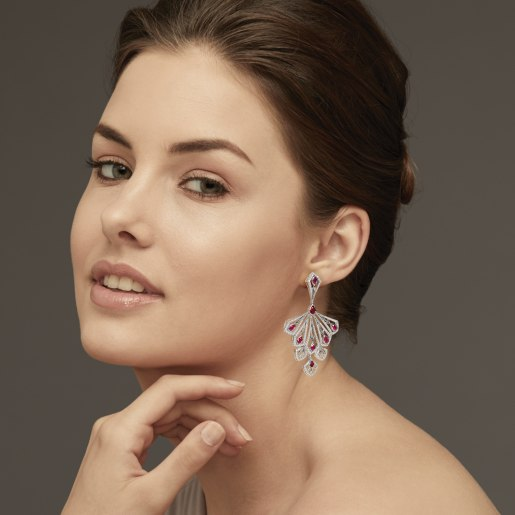 Diamond , Ruby And Pink Tourmaline Earring In White Gold (24.53 Gram) With Diamonds (2.924 Ct)