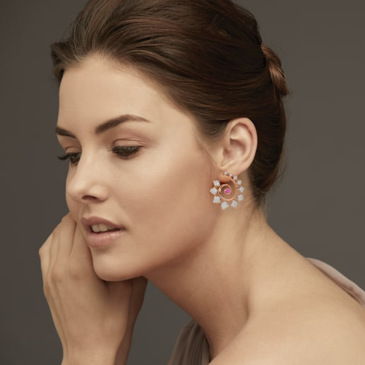 Diamond And Pink Tourmaline Earring In Rose Gold (13.17 Gram) With Diamonds (1.412 Ct)