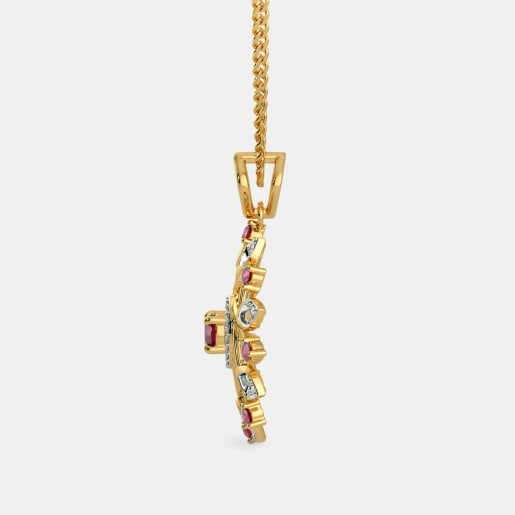 Diamond And Ruby Pendant In Yellow Gold (3.36 Gram) With Diamonds (0.103 Ct)