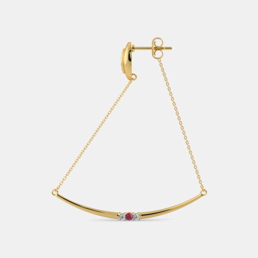 Diamond And Ruby Earring In Yellow Gold (5.56 Gram) With Diamonds (0.122 Ct)