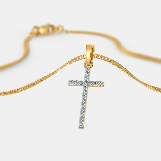 Buy gold cross pendant designs online in india 2018 bluestone the annot cross pendant mozeypictures Images