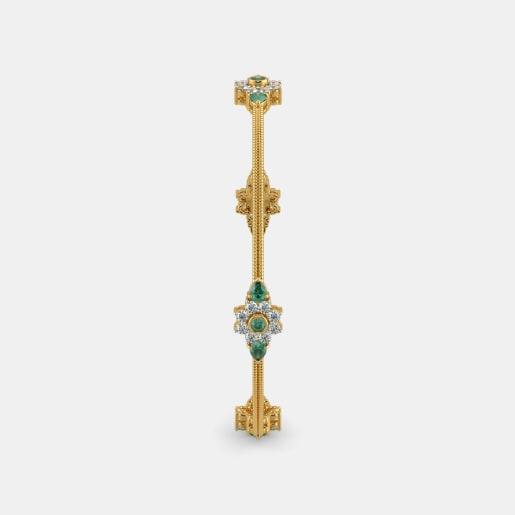 Diamond And Emerald Bangle In Yellow Gold (12.64 Gram) With Diamonds (1.120 Ct)