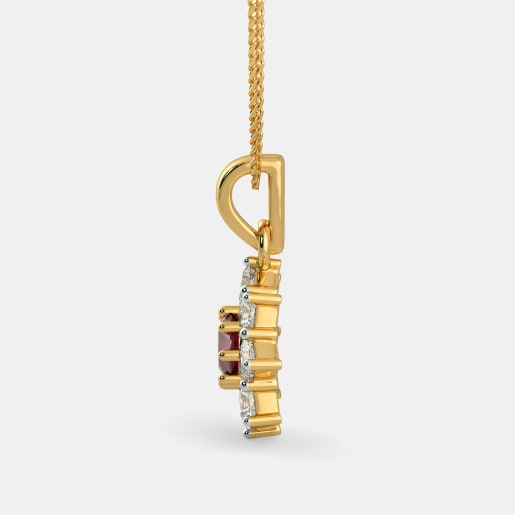 Diamond And Ruby Pendant In Yellow Gold (1.39 Gram) With Diamonds (0.576 Ct)