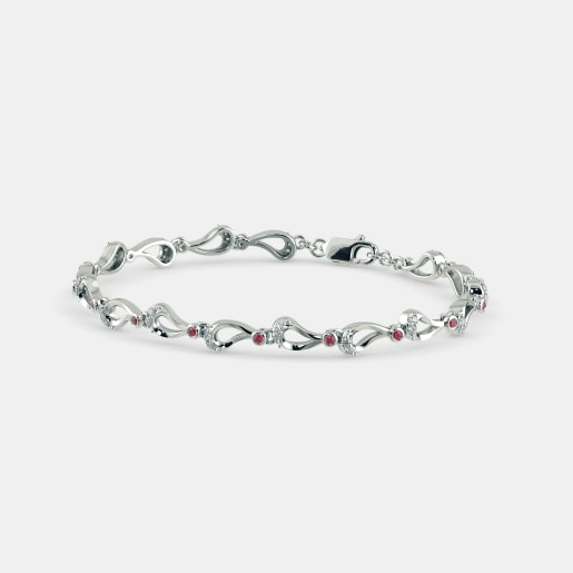 Diamond And Ruby Bracelet In White Gold (9.6 Gram) With Diamonds (0.480 Ct)