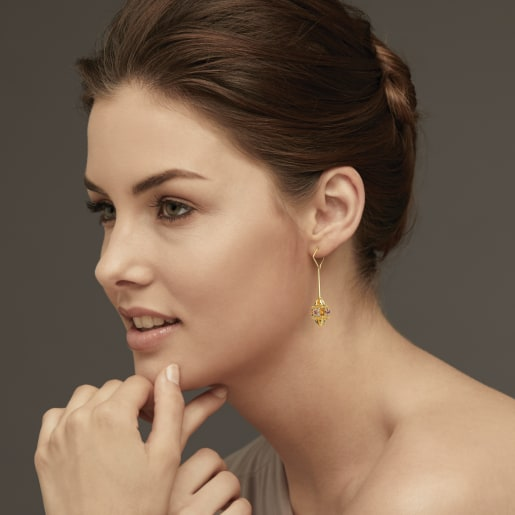 Diamond And Pink Tourmaline Earring In Yellow Gold (8.73 Gram) With Diamonds (0.144 Ct)