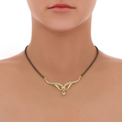 Diamond Mangalsutra In Yellow Gold (3.526 Gram) With Diamonds (0.218 Ct)